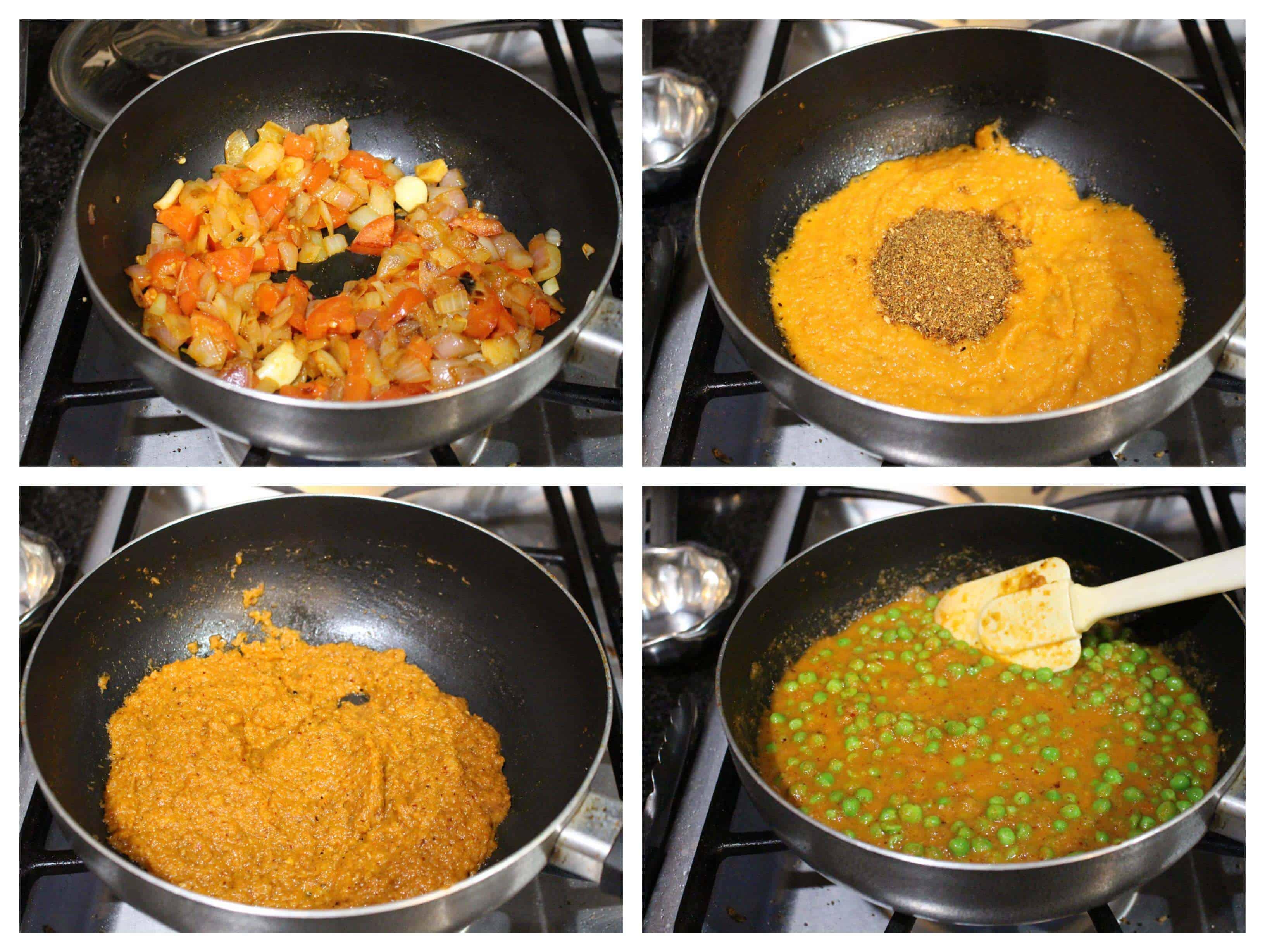 process shots to make peas masala