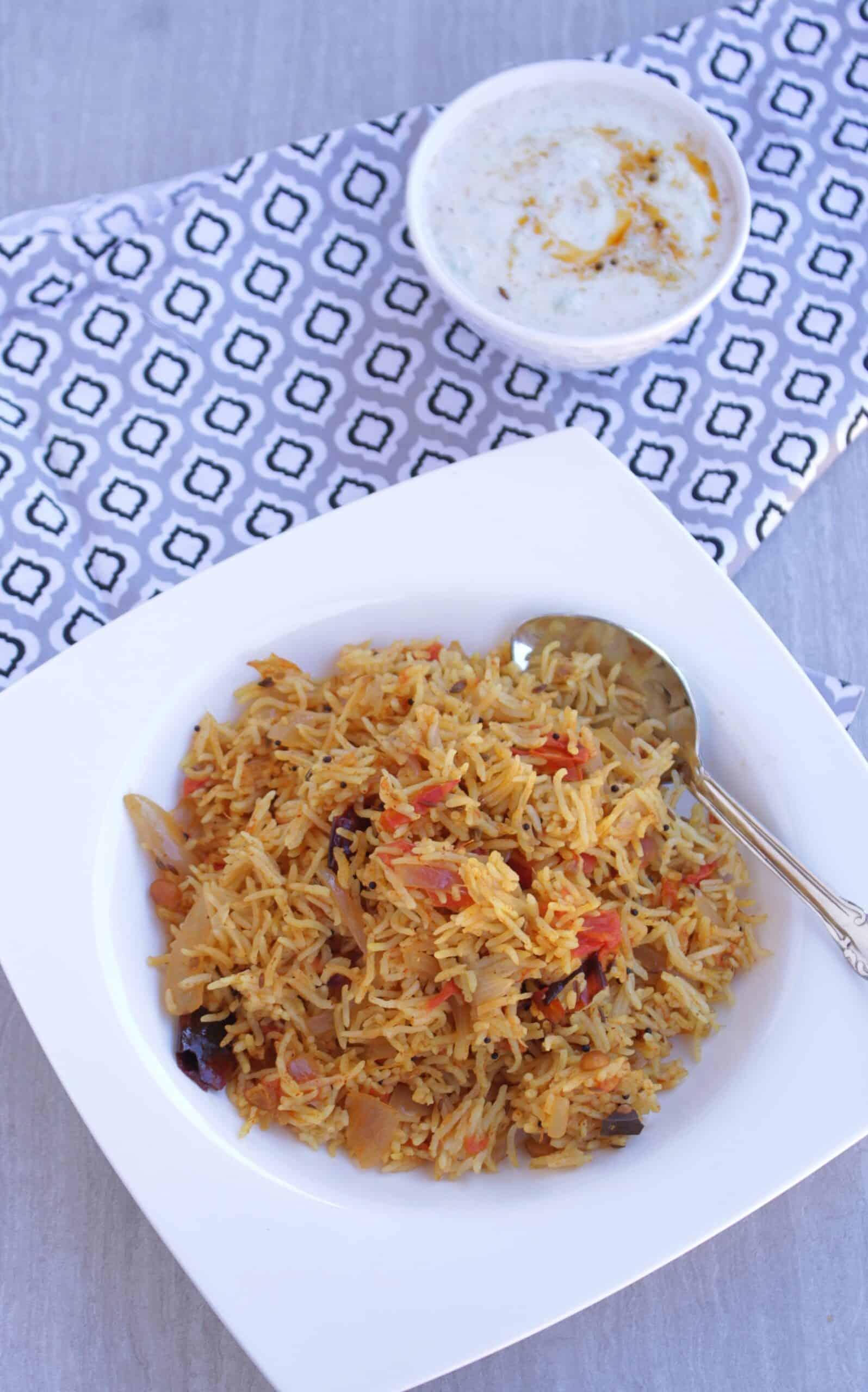 Biriyani made in Instant pot served with raita