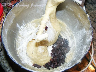 raisins added to mixer