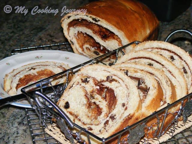 Cinnamon Raisin Bread Sliced in basket