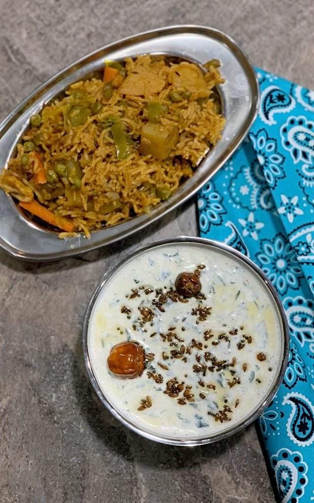 Palak Raita with vegetable Biriyani