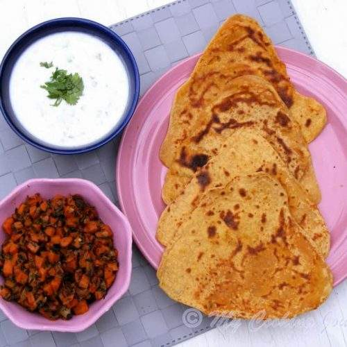 Haryana Besan Masala roti with Gajar methi subzi
