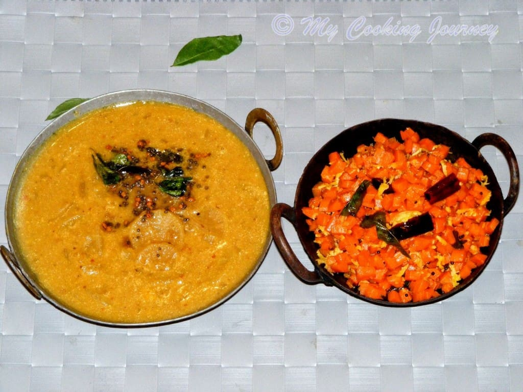 Carrot curry and Vendhaya sambhar %%