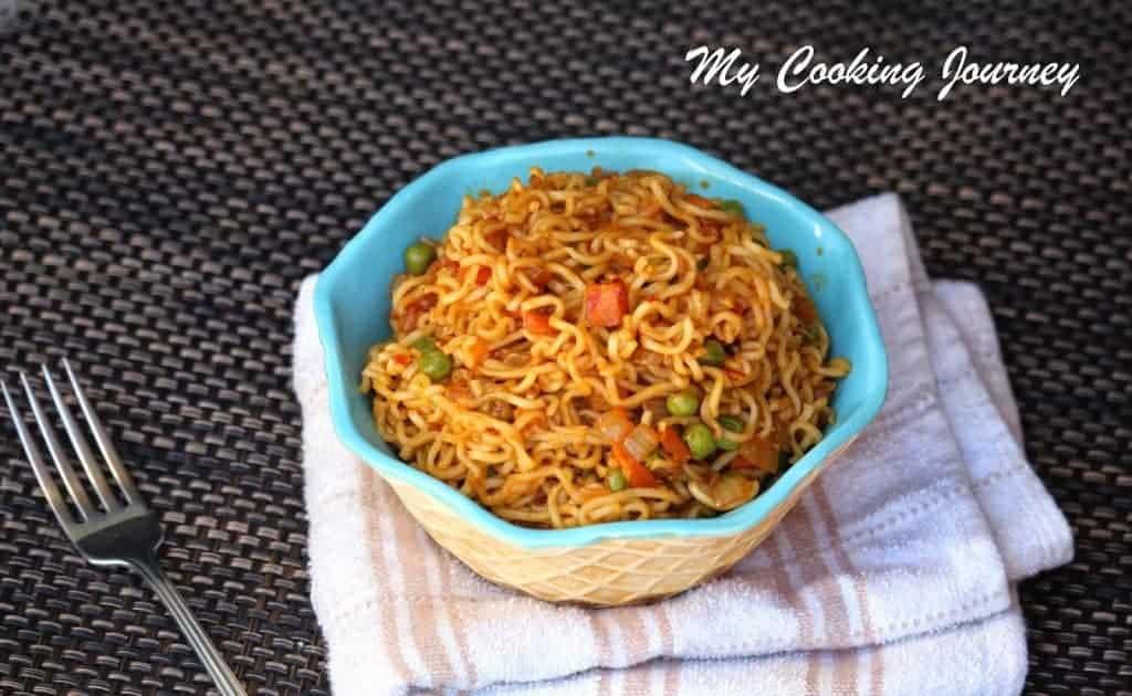 Vegetable Noodles in bowl with fork