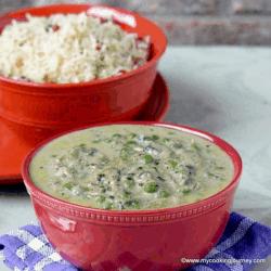 Methi Malai Mutter – Fenugreek Green Peas Curry in a Bowl