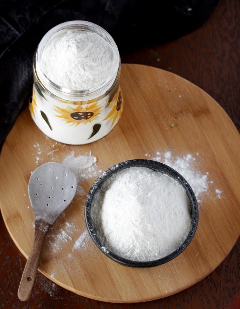 Rice Flour on wooden base