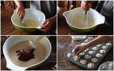 Whole wheat Banana Cranberry Almond Muffins