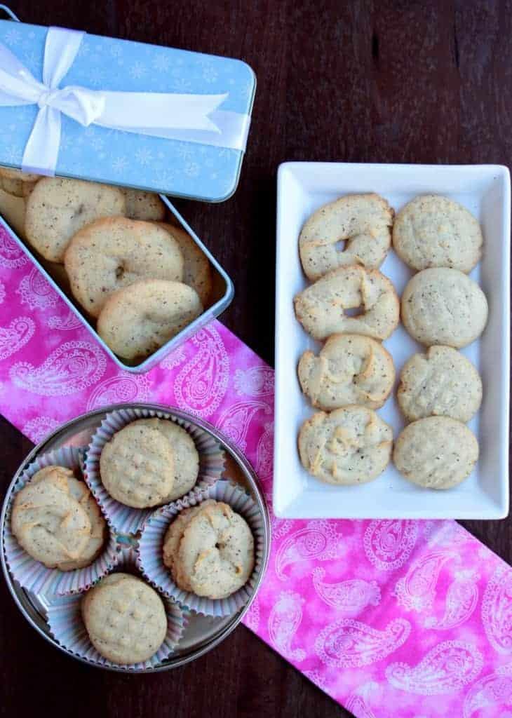 cookies arranged in tin