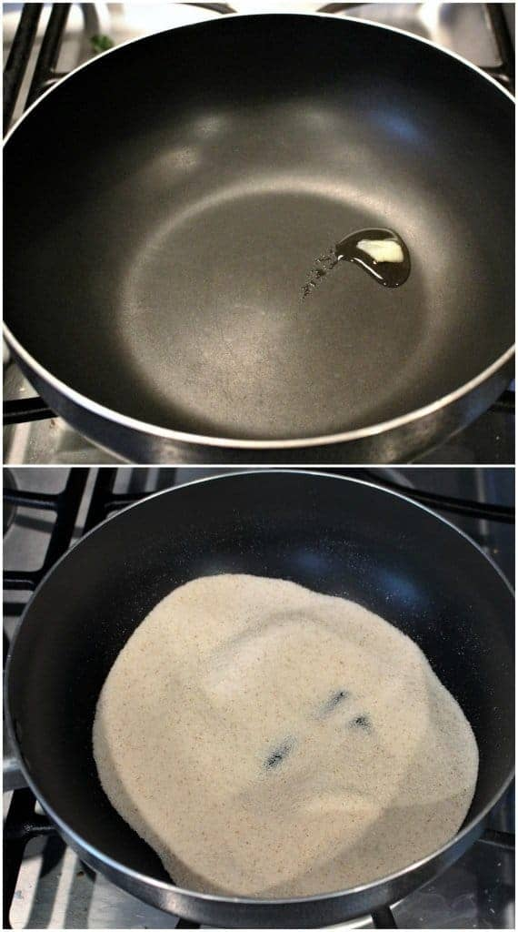 frying rava for making rava ladoo