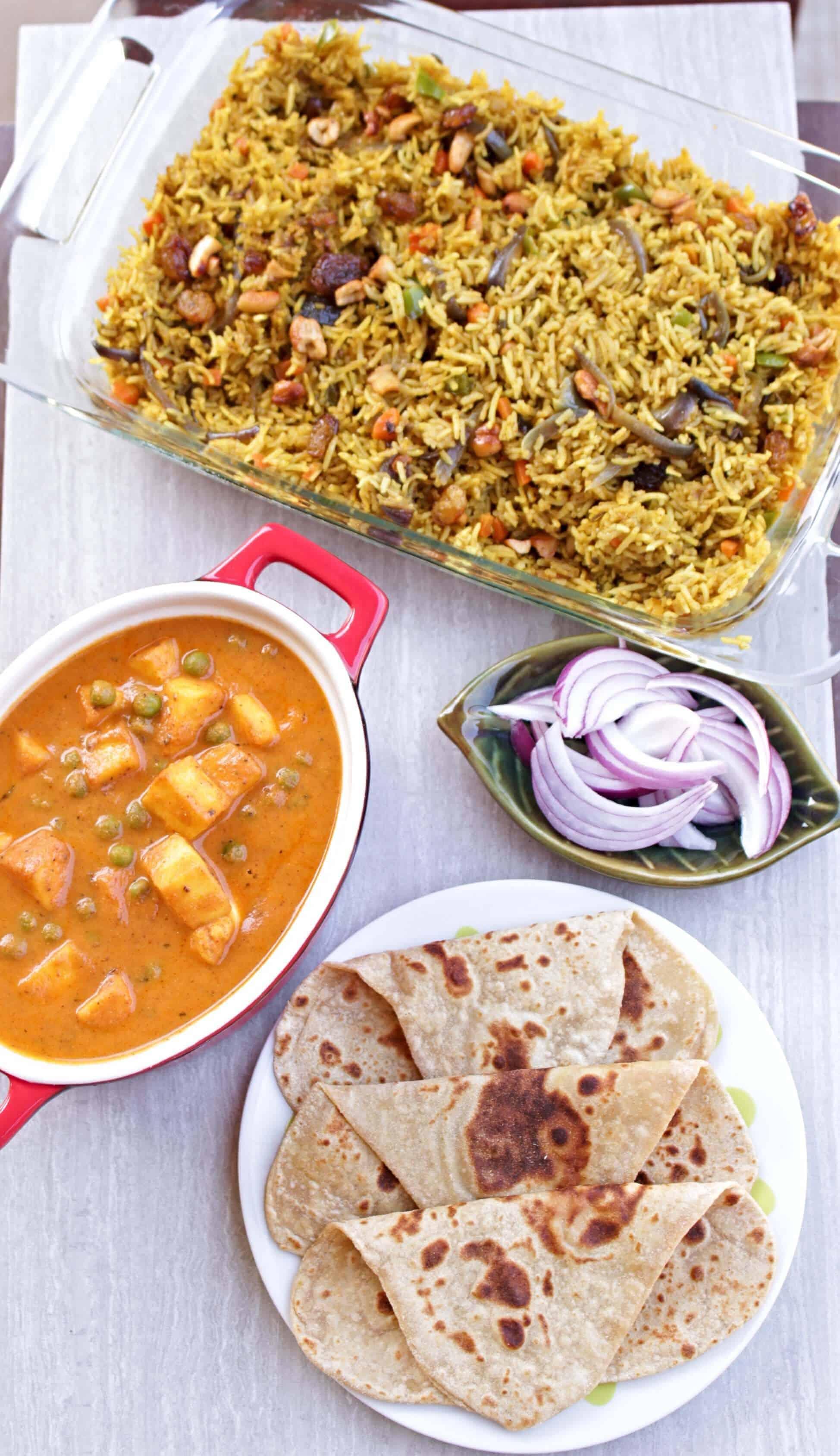 Simple Vegetable Biriyani with matar paneer and avocado paratha