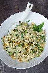 Vegetarian Pasta Salad with corn and edamame