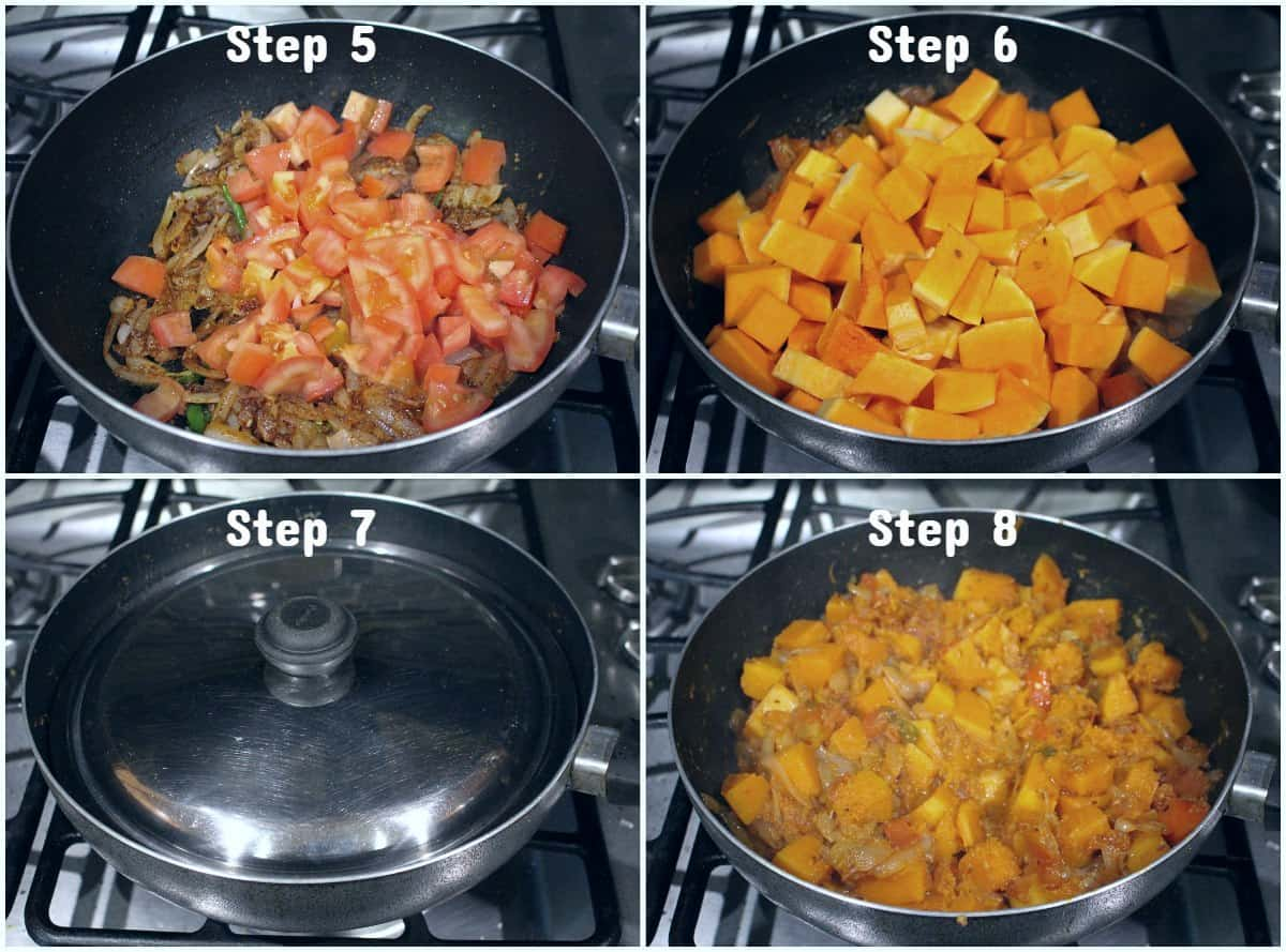 Step by step process to make Kaddu ki subzi