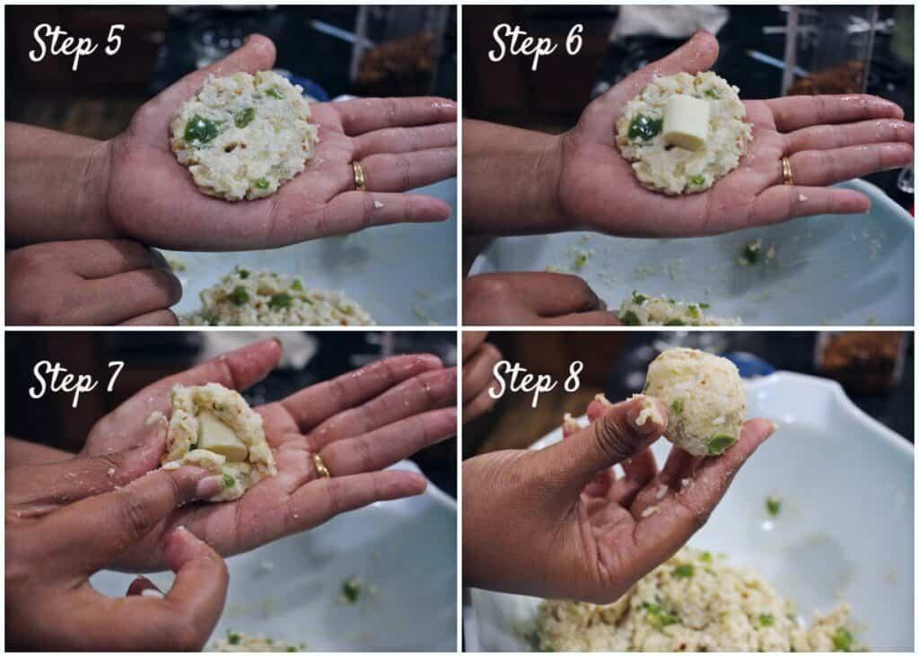 Process shot to shape the rice balls