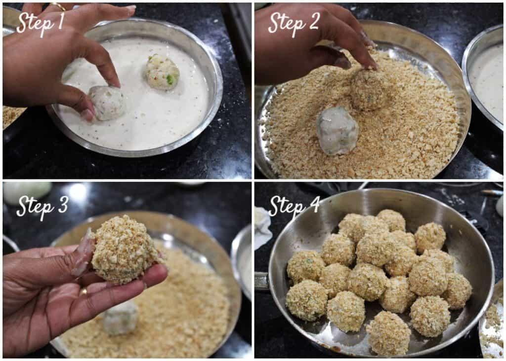 Process shot to bread the Arancini