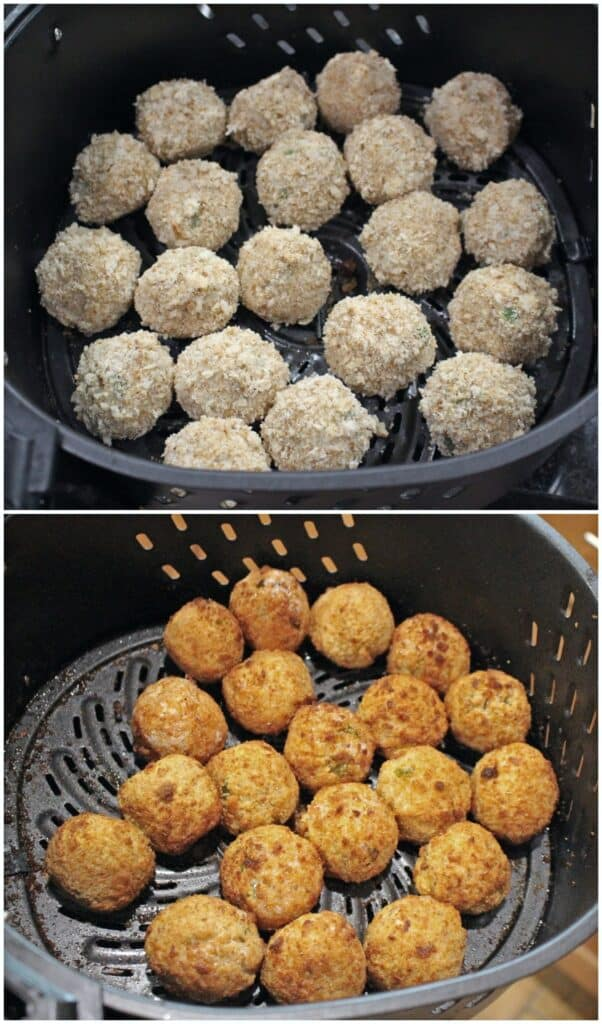 cooked arancini in air fryer