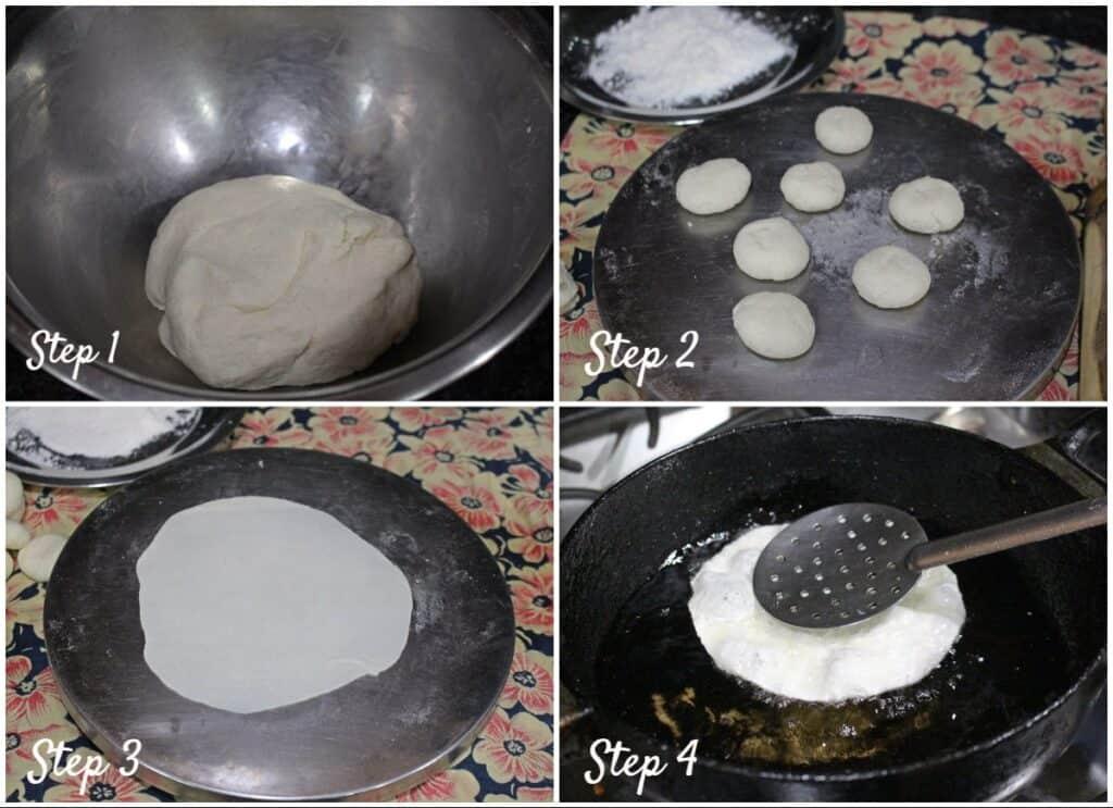 process shot for making semolina poori