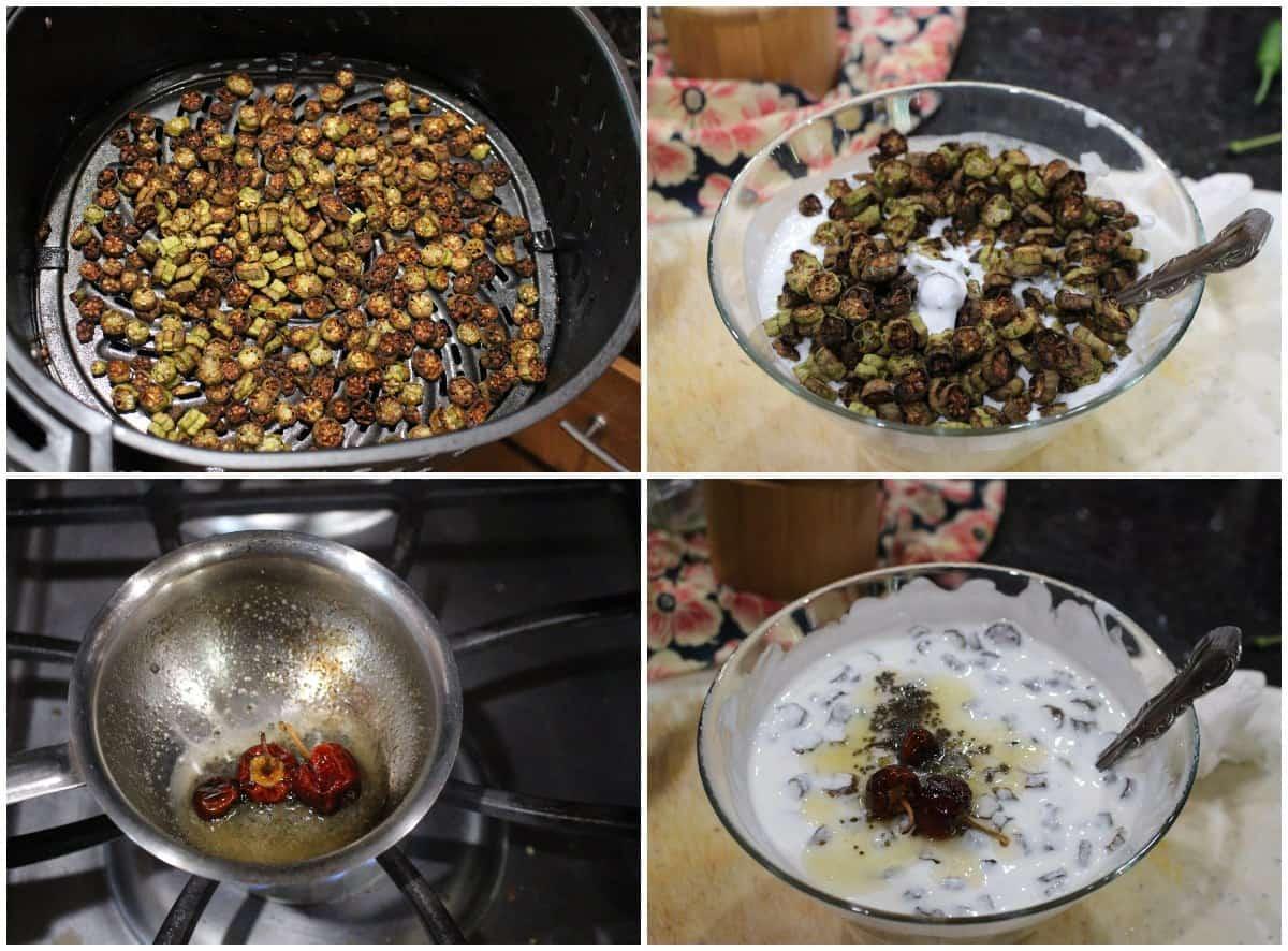 Process shot to make air fried okra raita