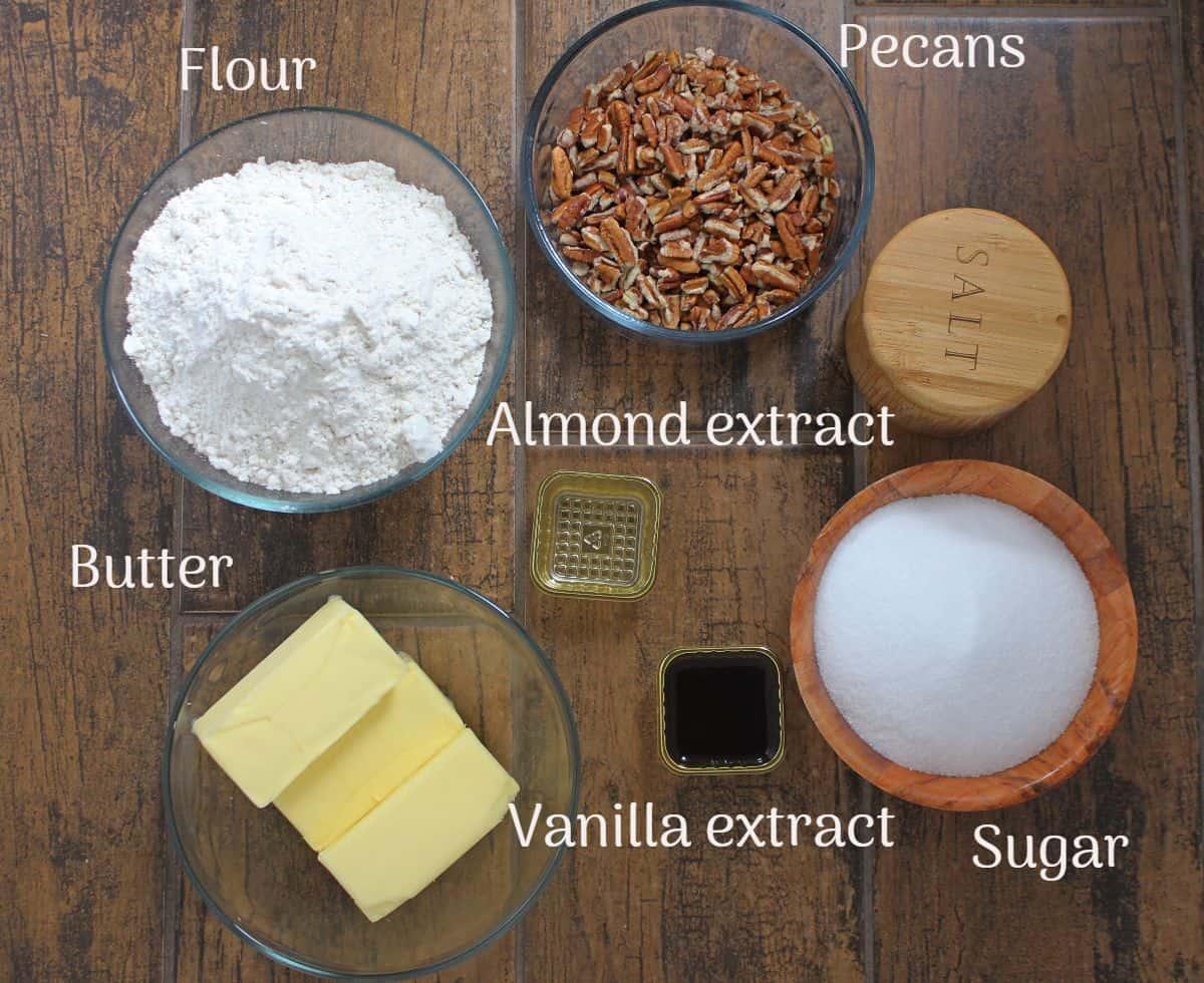ingredients needed to make pecan shortbread cookies