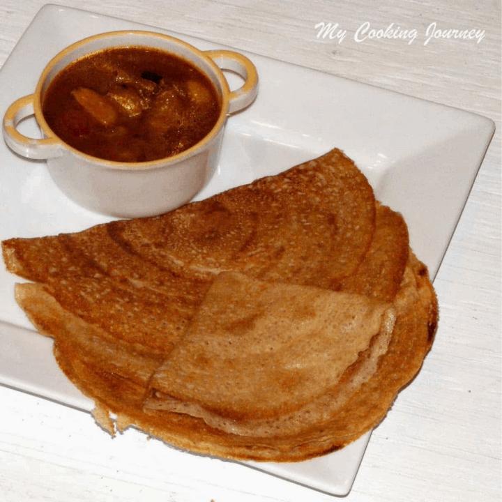 Barley Dosai Barley Crepes in a plate