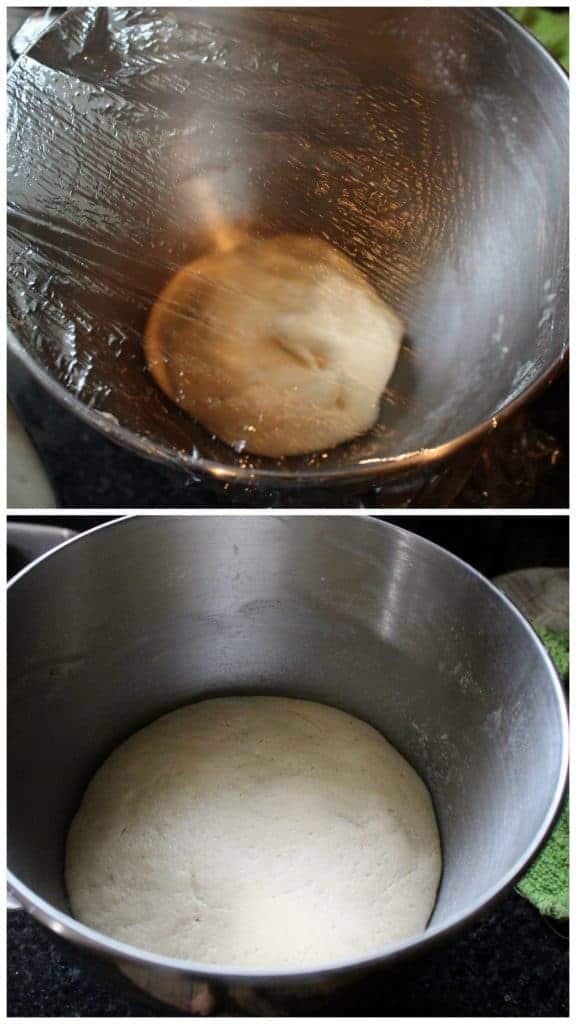 Making a dough in a bowl