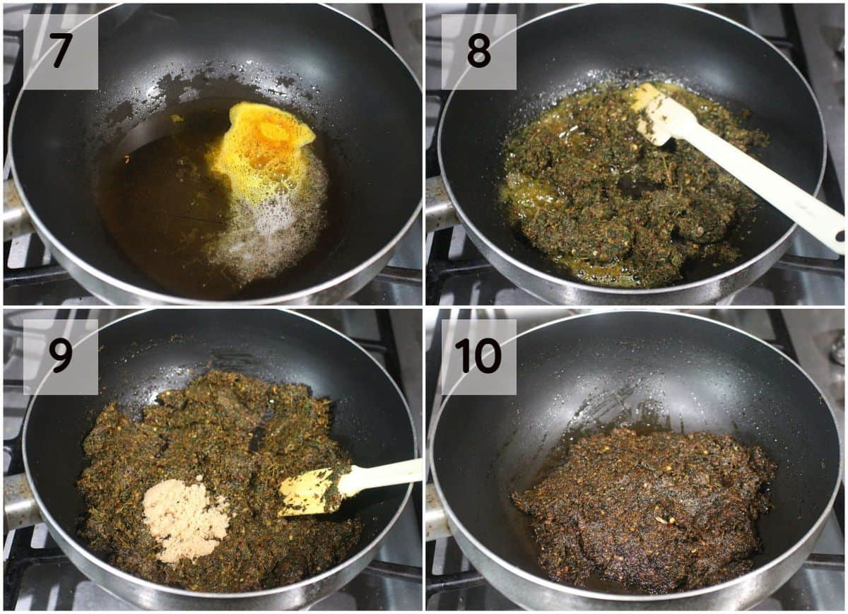 step by step process shot to cook the pudina thokku